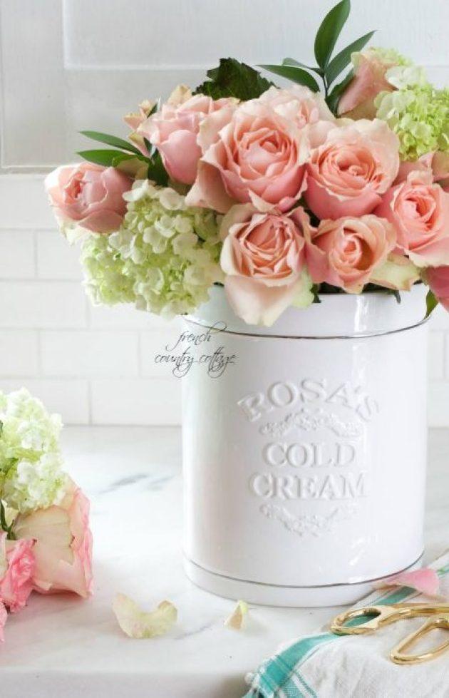 French Country Decor Ideas - White Ceramic Crock Flower Vase - Cabritonyc.com