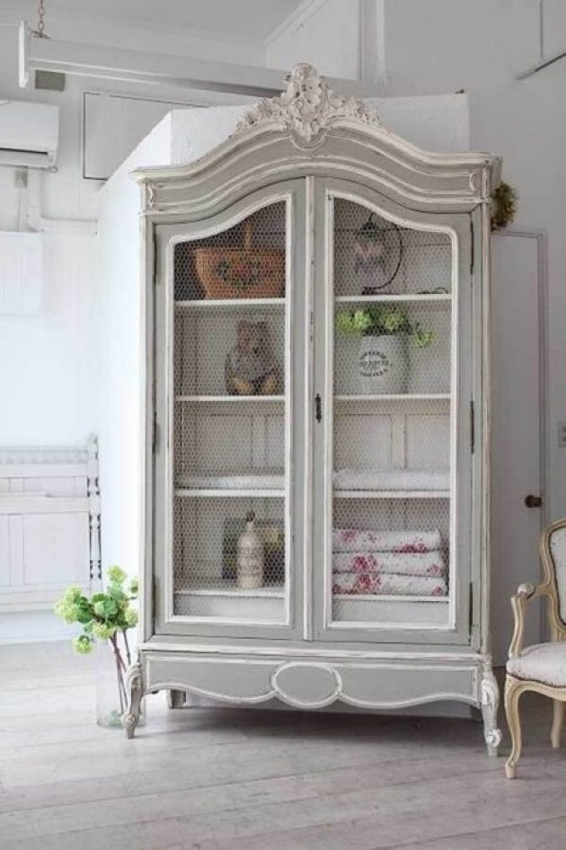 French Country Decor Ideas - Painted and Antiqued Shabby Chic Armoire - Cabritonyc.com