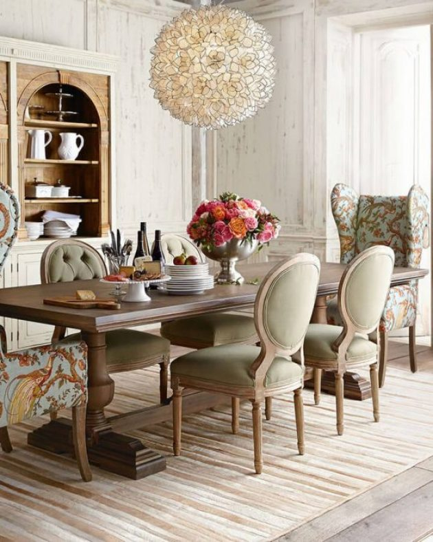 French Country Decor Ideas - High-Ceiling Dining Room with Fanciful Chairs - Cabritonyc.com