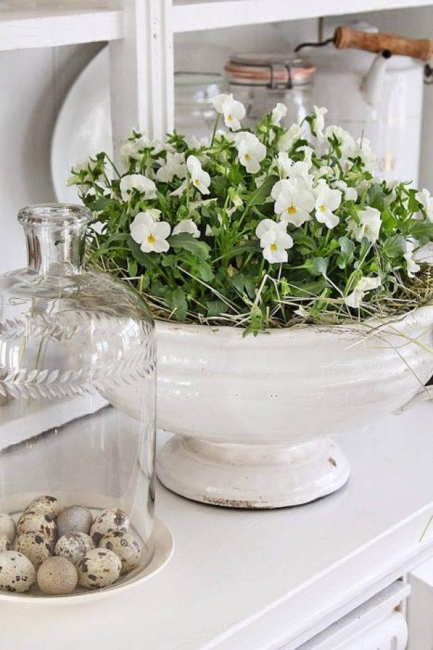 French Country Decor Ideas - White Violas Planted in Antique Ceramic Dish - Cabritonyc.com