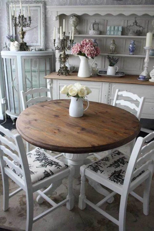 French Country Decor Ideas - Informal Round Wooden Dining Table - Cabritonyc.com