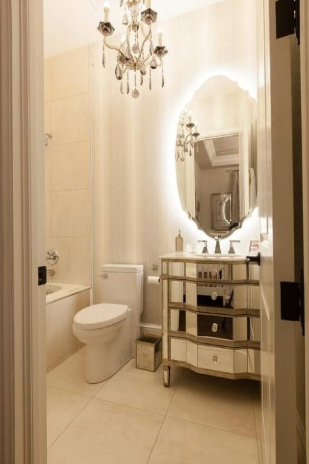 French-Style Bathroom With Backlit Ornate Mirror Ideas