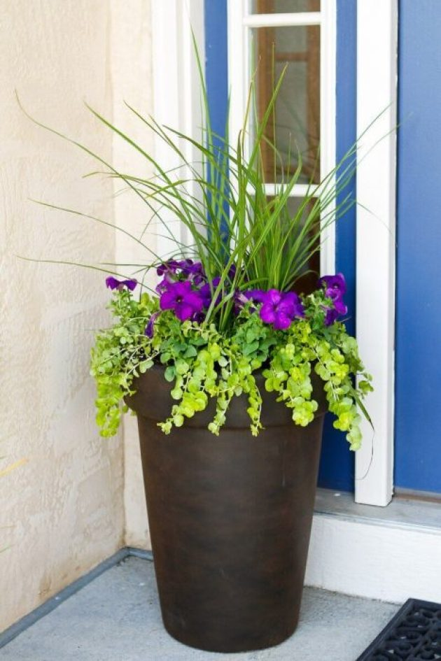 Front Door Flower Pots Ideas - Tall Antique Bronze Flower Planter - Cabritonyc.com