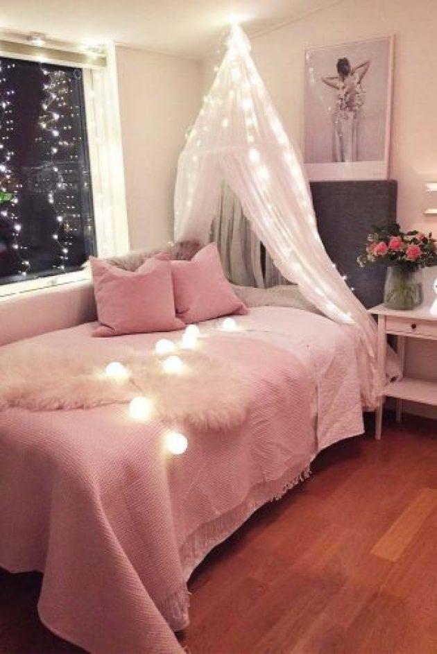Teenage Girl's Bedroom Ideas - Cozy Teen Bedroom Idea With Lights - Cabritonyc.com