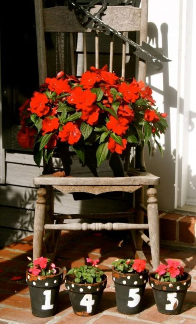 Front Door Flower Pots Ideas - Antique Chair with House Number Front Door Flower Pots - Cabritonyc.com