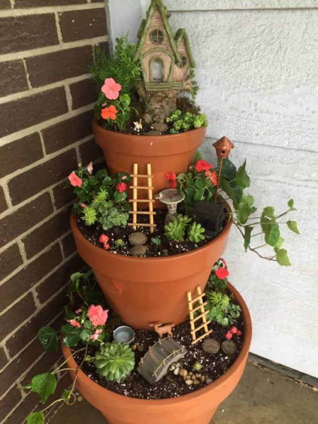 Front Door Flower Pots Ideas - Tiered Front Porch Fairy Garden - Cabritonyc.com