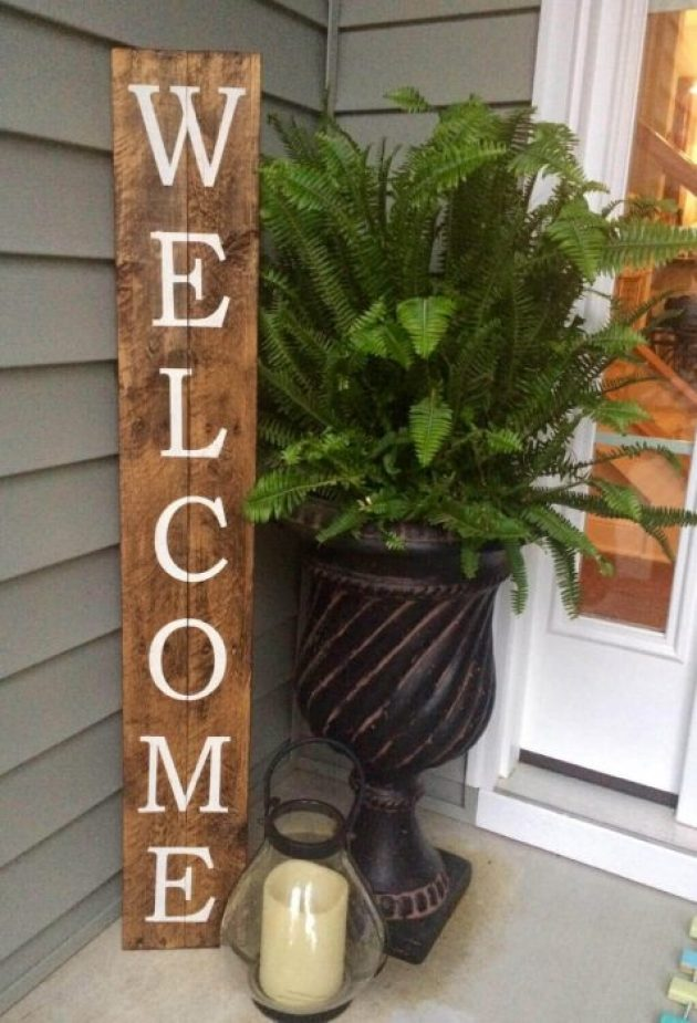 Farmhouse Porch Decorating Ideas - Storefront Style Wooden Welcome Sign - cabritonyc.com