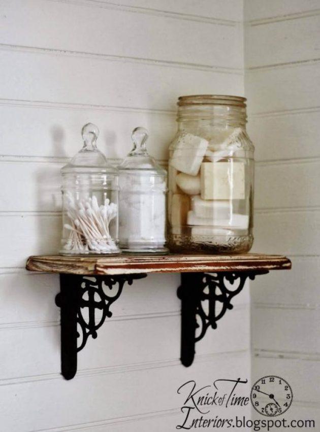 Farmhouse Bathroom Decor Ideas - Rustic DIY Bathroom Wall Shelf - Cabritonyc.com