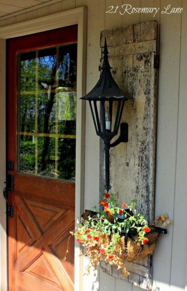 Farmhouse Porch Decorating Ideas - Shuttered Planter's Lantern Wall Mount- Cabritonyc.com