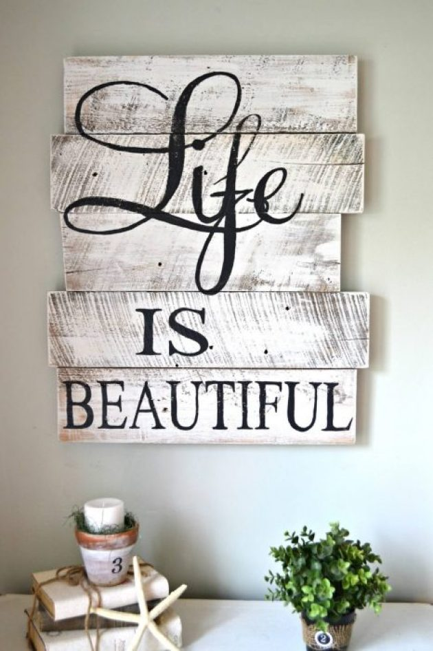 """Rustic Wall Decor Ideas - Hand-painted Whitewashed """"Life Is Beautiful"""" Sign - Cabritonyc.com"""
