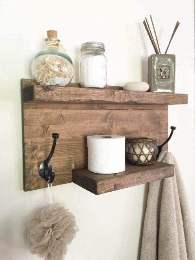 Farmhouse Bathroom Decor Ideas - DIY Wood Towel Rack and Organizer - Cabritonyc.com