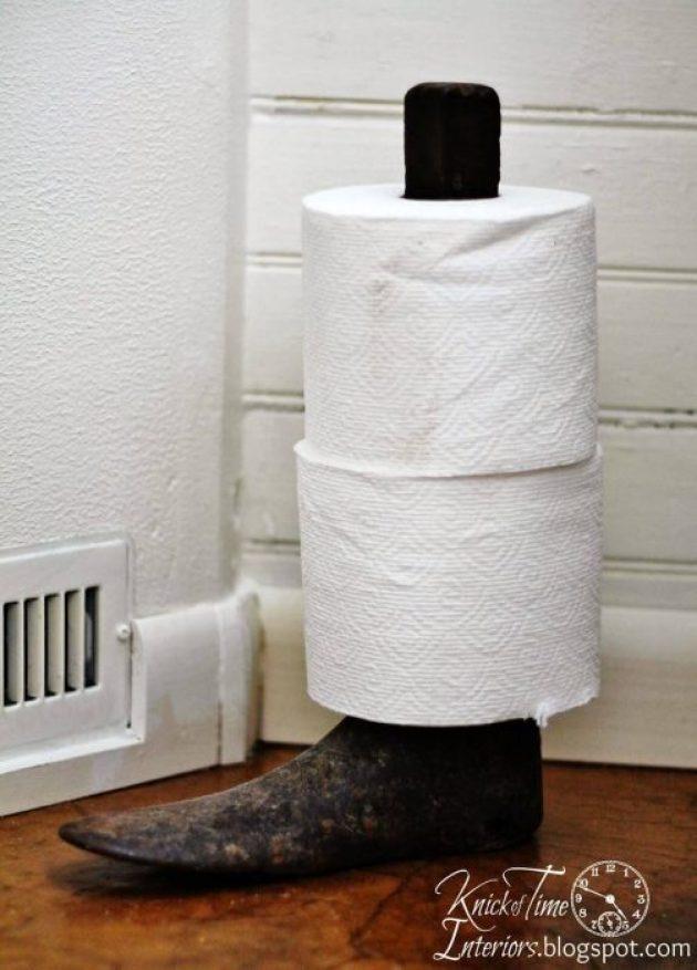 Farmhouse Bathroom Decor Ideas - Antique Boot Stand Toilet Paper Holder - Cabritonyc.com