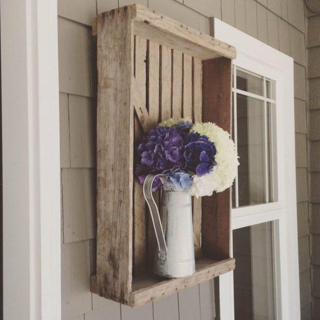 Farmhouse Porch Decorating Ideas - Repurposed Farm Crate Vase Mount - Cabritonyc.com