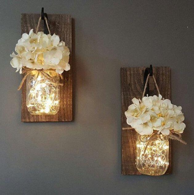Rustic Wall Decor Ideas - Glowing Mason Jar Wall Sconces - Cabritonyc.com