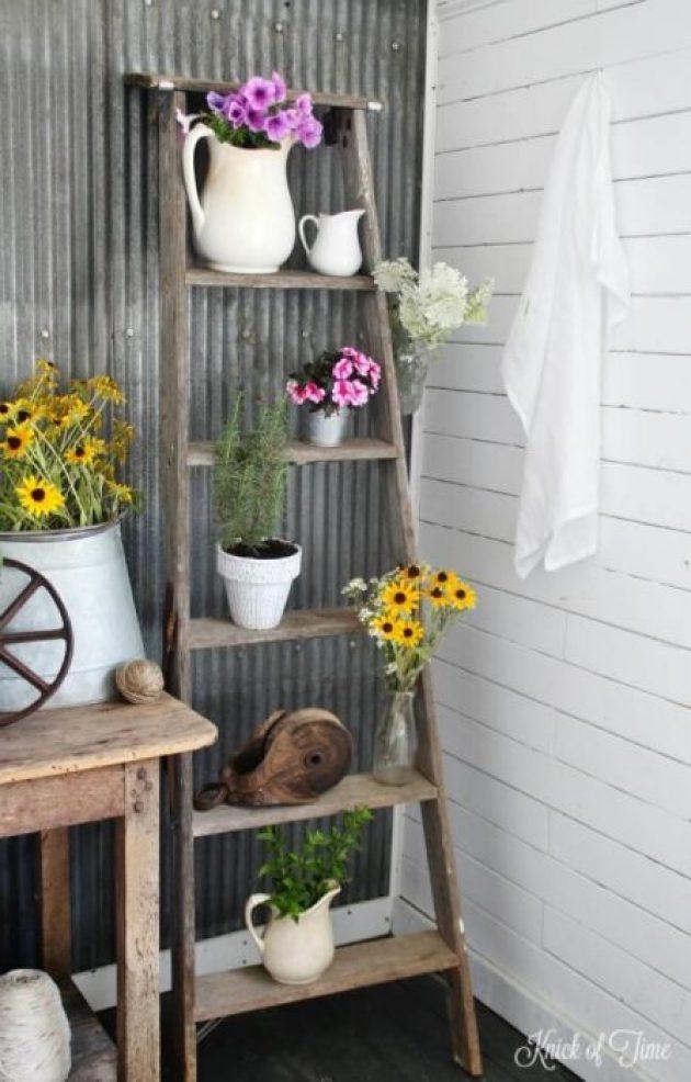 Farmhouse Porch Decorating Ideas - Painter's Ladder Potted Plant Stand - Cabritonyc.com