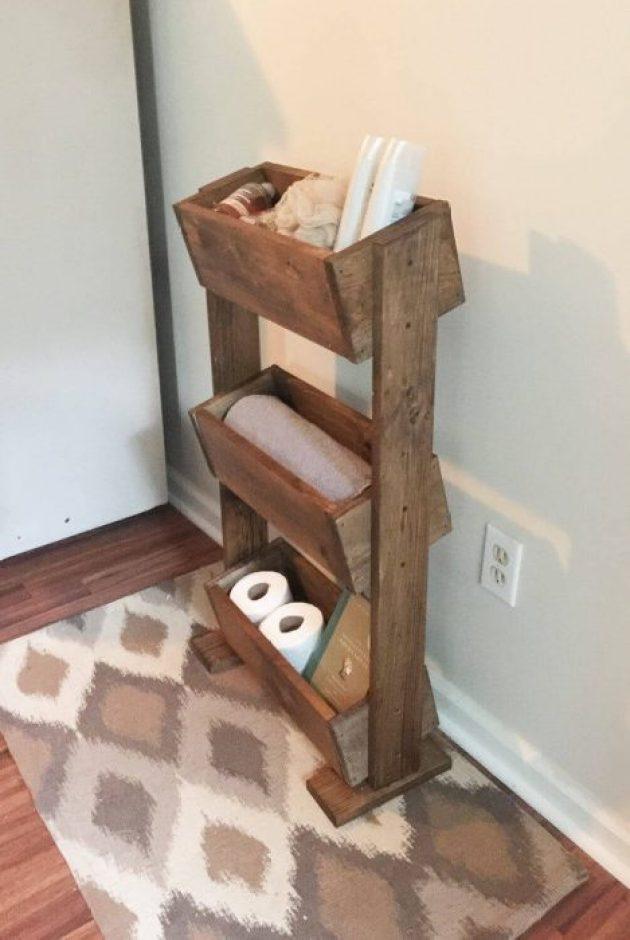 Farmhouse Bathroom Decor Ideas - Tiered Wooden Box Bathroom Storage Idea - Cabritonyc.com