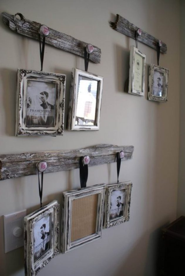 Rustic Wall Decor Ideas - Antique Drawer Pull Picture Frame Hangers - Cabritonyc.com