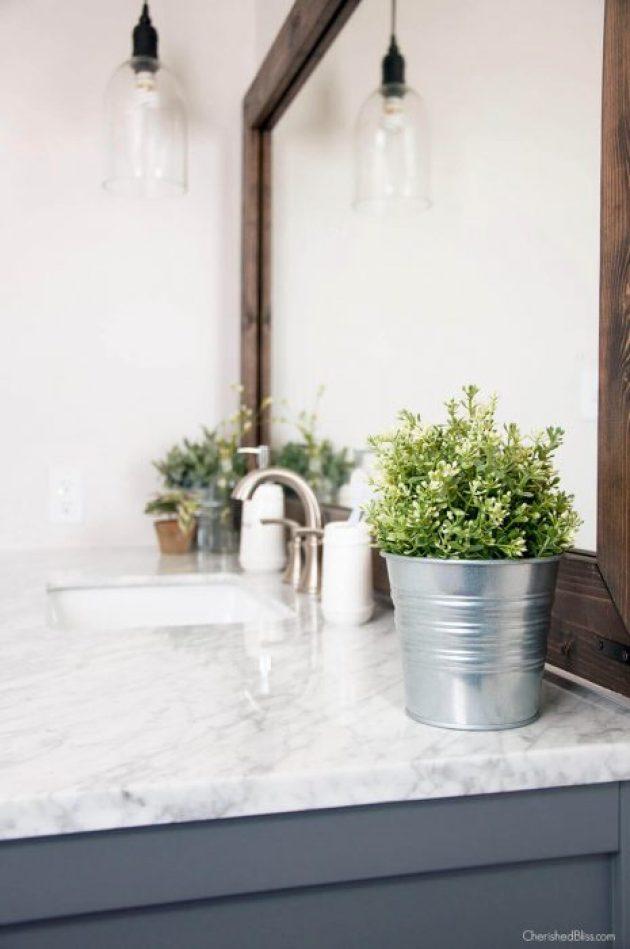 Farmhouse Bathroom Decor Ideas - Metal Bucket Flower Planter Bathroom Decorations - Cabritonyc.com