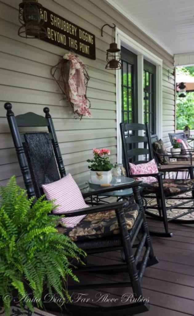 Farmhouse Porch Decorating Ideas - Edward Gorey Inspired Black Rockers - Cabritonyc.com