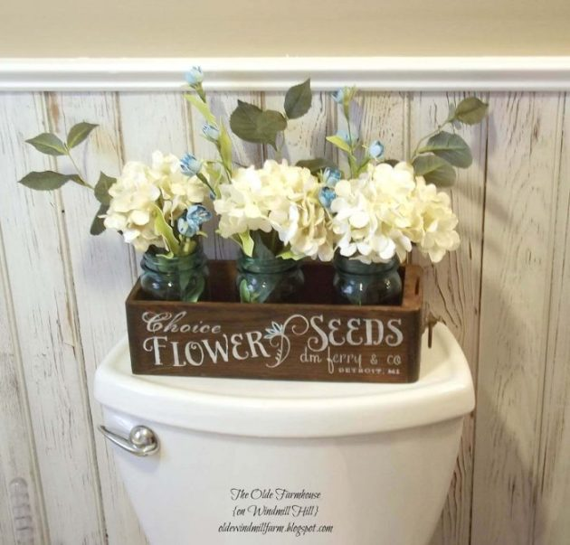 Farmhouse Bathroom Decor Ideas - Flower Crate with Mason Jar Vases Decoration - Cabritonyc.com