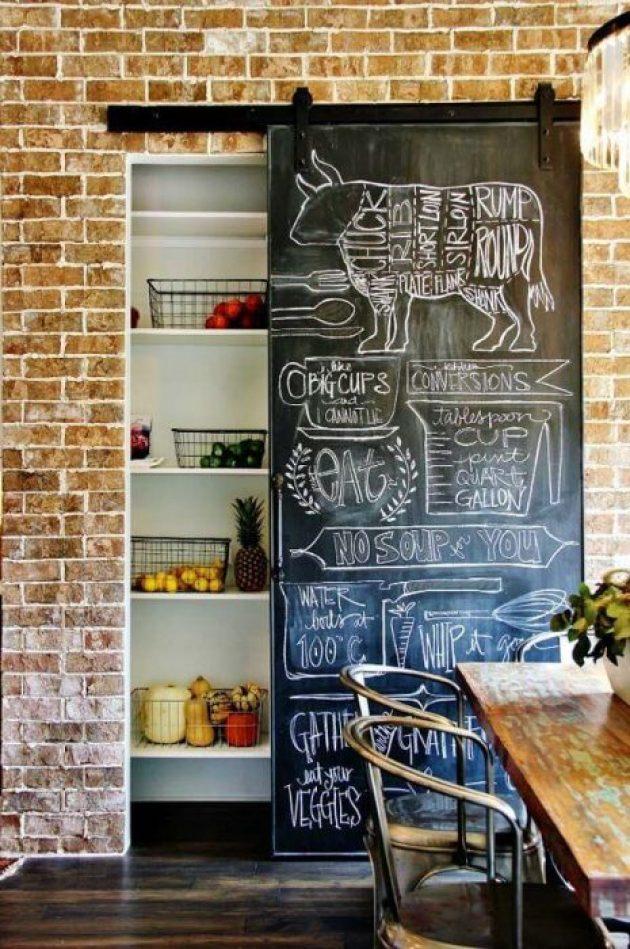 Farmhouse Kitchen Decor Design Ideas - Hanging Chalkboard Pantry Door With - Cabritonyc.com