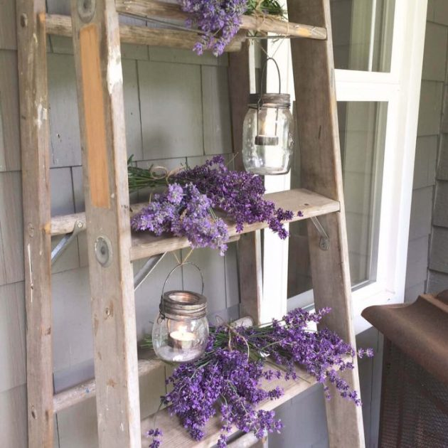 Farmhouse Porch Decorating Ideas - Lavender Province Stripped Ladder With Mason Lanterns - Cabritonyc.com