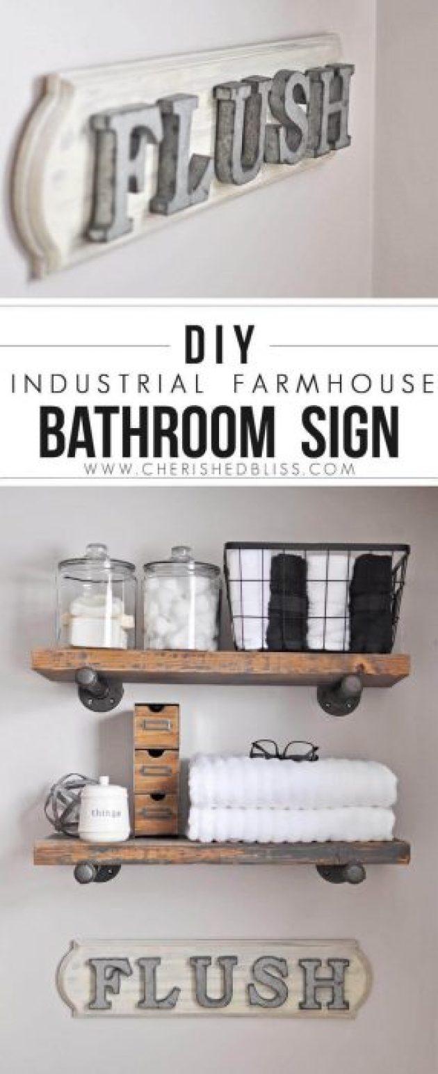 "Farmhouse Bathroom Decor Ideas - DIY Farmhouse Bathroom ""Flush"" Sign - Cabritonyc.com"