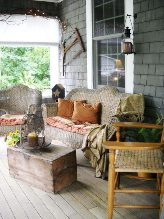 Farmhouse Porch Decorating Ideas - Mountain Cabin Woven Porch Furnishings With Antique Crate Table - Cabritonyc.com
