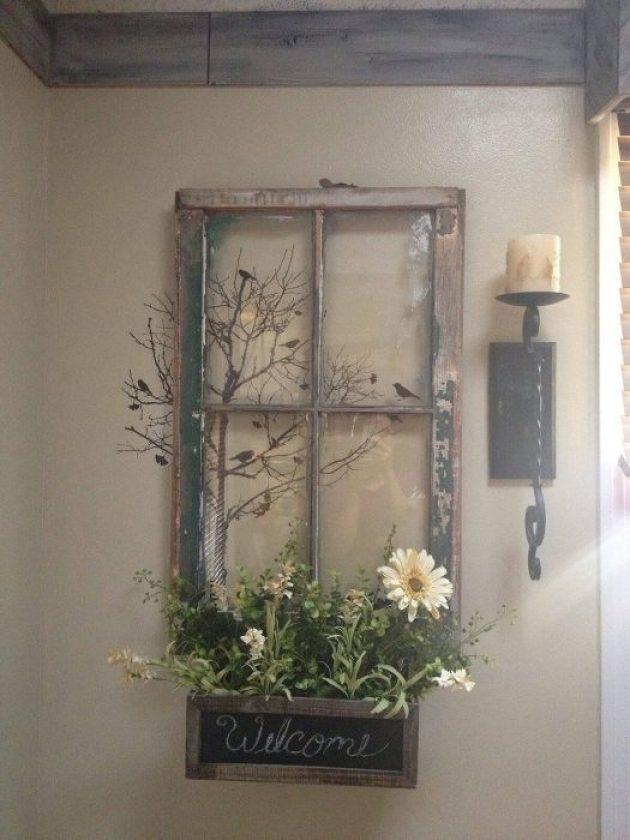 Farmhouse Porch Decorating Ideas - Welcoming Window Repurposed Planter Sign - Cabritonyc.com