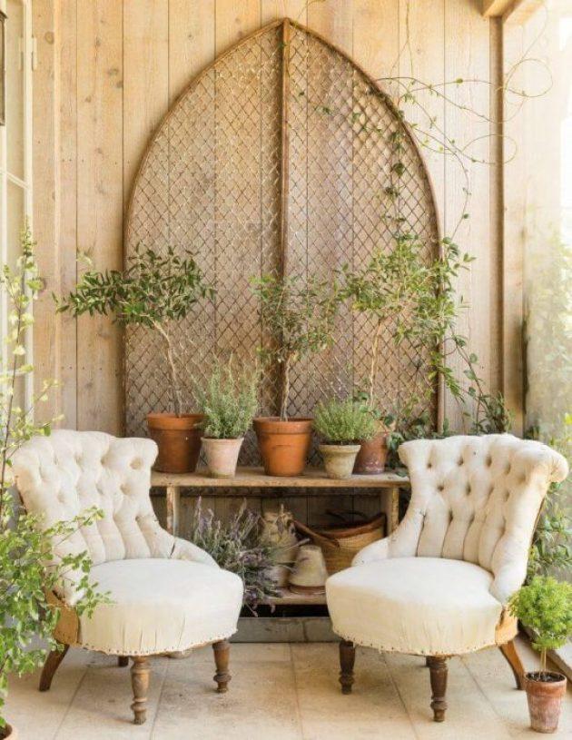 Farmhouse Porch Decorating Ideas - Secret Garden Rustic Porch Setting- Cabritonyc.com