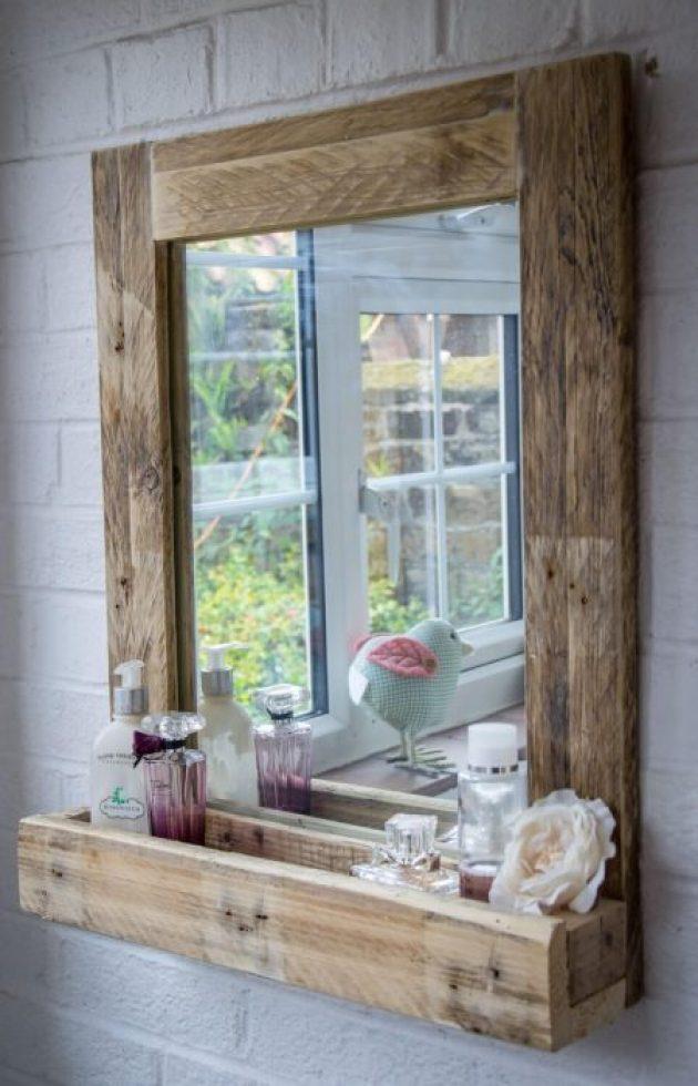 Rustic Bathroom Decor Ideas - Pallet Wood Mirror Frame with Storage - Cabritonyc.com