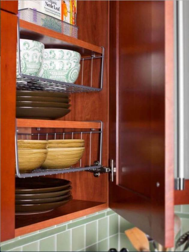 Storage Ideas for Small Spaces - Hanging Shelves Double Cabinet Space - Cabritonyc.com