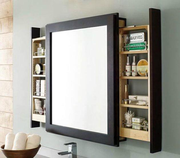 Storage Ideas for Small Spaces - Sliding Shelves Mounted Behind Bathroom Mirror - Cabritonyc.com