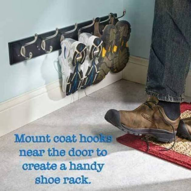 Storage Ideas for Small Spaces - Low-Mounted Coat Rack for Entryway Shoe Storage - Cabritonyc.com