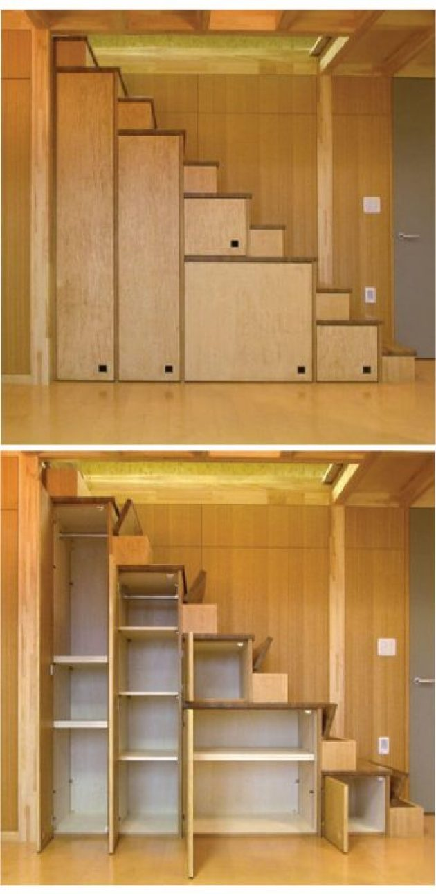 Storage Ideas for Small Spaces - Cabinets Beneath the Stairs Maximize Unused Space - Cabritonyc.com