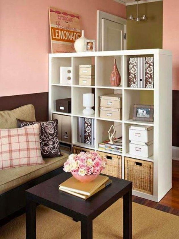 Storage Ideas for Small Spaces - Shelves Multitask as Storage and Room Divider - Cabritonyc.com