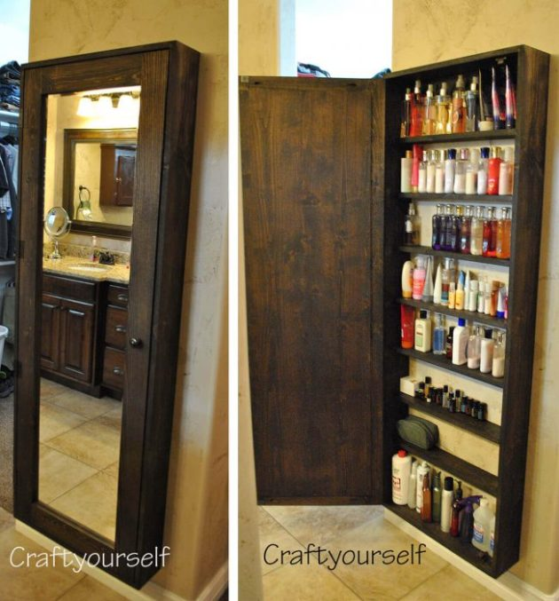 Storage Ideas for Small Spaces - Install a Full-Length Mirror with Hidden Shelving - Cabritonyc.com
