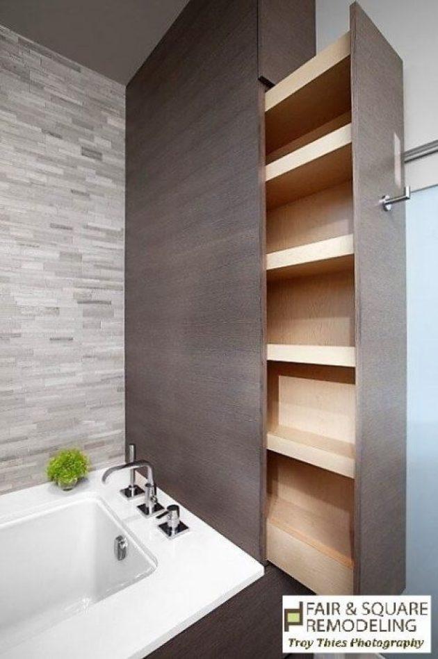 Storage Ideas for Small Spaces - Hidden Sliding Shelf in a Small Bathroom - Cabritonyc.com