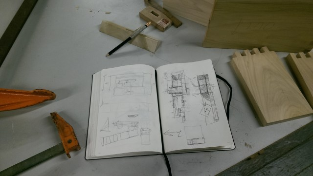 Sketching through some ideas in the woodshop