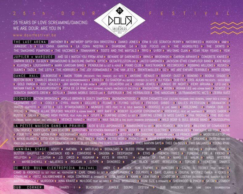 Dour festival 2013 25e édition programmation
