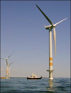 This photo shows an artist's conception of the proposed energy-producing wind farm by Cape Wind Associates.
