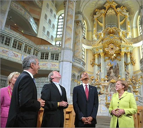 Obama toured the Frauenkirche (Church of Our Lady) with German leader Angela Merkel in Dresden on June 5.