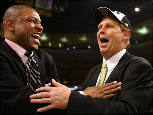 Danny Ainge  GM  of the Boston Celtics  and the team's coach Glen 'Doc' Rivers