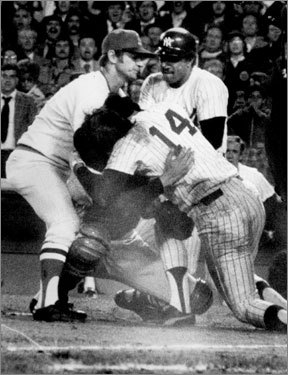 'Steinbrenner's Brown Shirts' Lou Piniella of the Yankees barrels into Sox catcher Carlton Fisk as he blocks the plate, and in the ensuing fight, Mickey Rivers sucker punches Sox pitcher Bill Lee and Graig Nettles throws Lee to the ground. Lee tears ligaments in his shoulder and is out two months; after the game he calls Yankee manager Billy Martin 'a Nazi' and the Yankees 'Steinbrenner's Brown Shirts.''