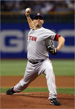 Red Sox starter Josh Beckett fired a pitch in the first inning.