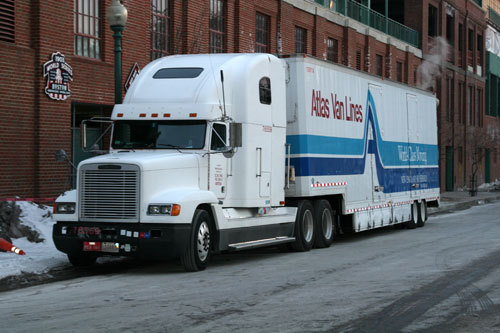 Earlier in the day, the 18-wheeler sat outside Fenway Park early Friday morning.