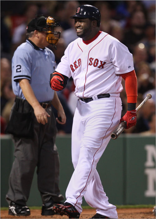 David Ortiz had to laugh after getting fooled by a pitch in the fourth.