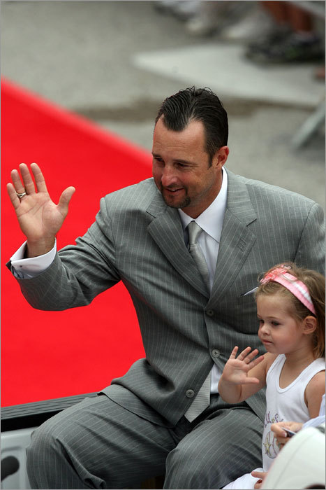 Red Sox starter Tim Wakefield sat on a float in the Red Carpet Parade. The 42-year-old knuckleballer was joined by his family.