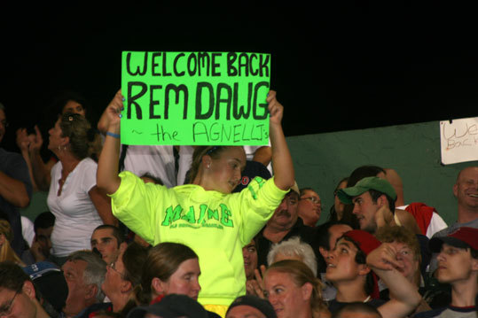 There were so many 'Welcome back Jerry Remy' signs that this young fan resorted to neon green in order to stand out in the crowd.
