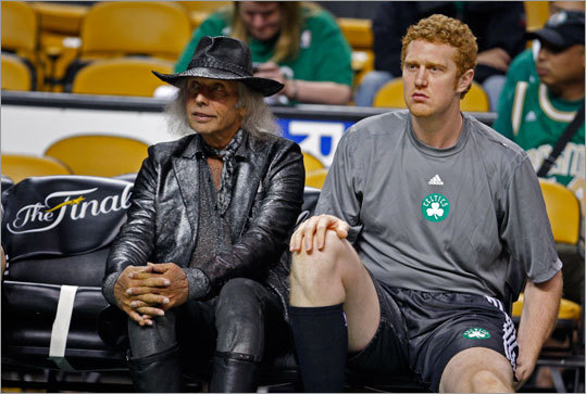 Before the game, Celtics backup Brian Scalabrine (right) was joined by NBA superfan Jim Goldstein, a flamboyant LA resident who attends more than 100 NBA games a year.